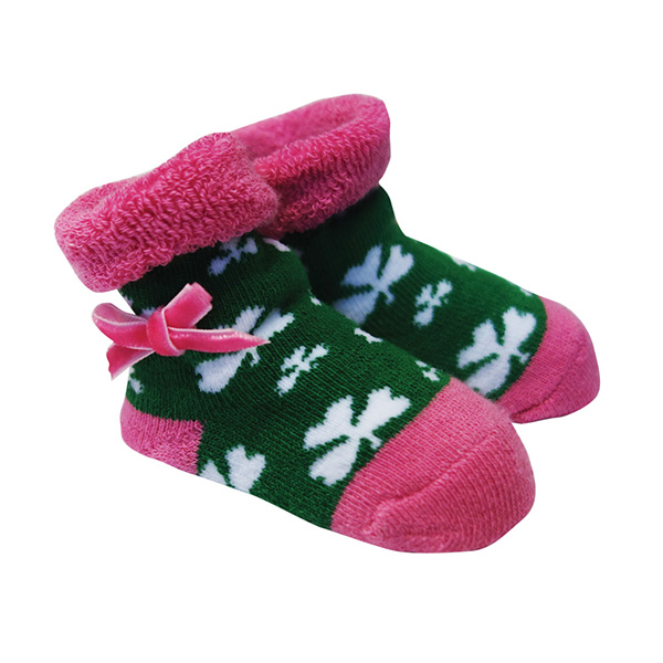 Green Pink Shamrock Baby Booties Dublin Gift Co