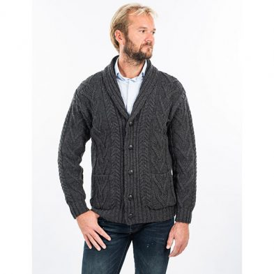 Aran Cable Cardigan with Shawl Collar Design on DublinGiftCompany.com