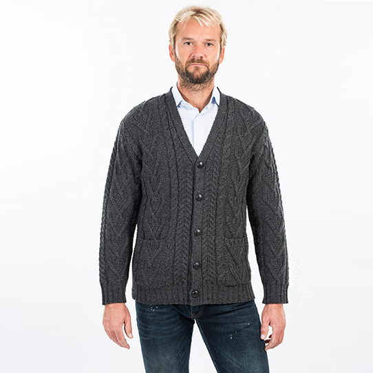 Charcoal Colored V-Neck Cable Knit Cardigan for Men on DublinGiftCompany.com