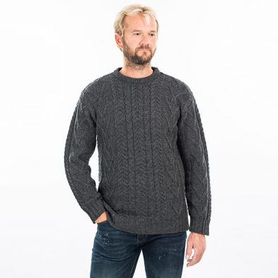 Traditional Aran Sweater with Crew Neck Design for Men on DublinGiftCompany.com