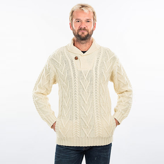 Single Button Sweater with Shawl Collar for Men on DublinGiftCompany.com