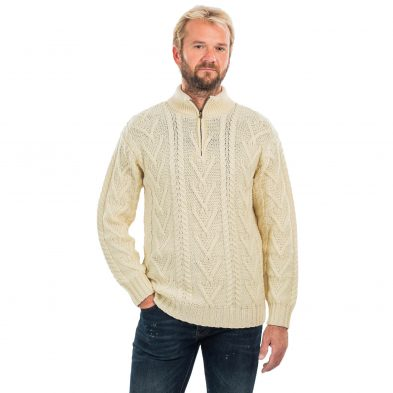 Fisherman Sweater with Zip-Neck Detail for Men on DublinGiftCompany.com