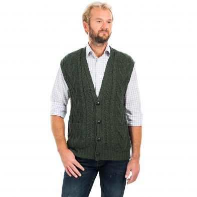 Aran Sleeveless Cardigan for Men on DublinGiftCompany.com