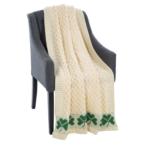 Irish Wool Throw with Shamrock Design at DublinGiftCompany.com