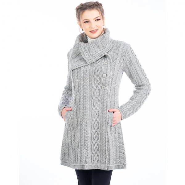 Ladies Soft Grey Coat with 4 Button Collar Design at DublinGiftCompany.com