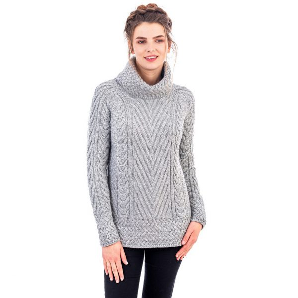 Turtleneck and Ribbed Cable Knit Design Sweater for Ladies on DublinGiftCompany.com