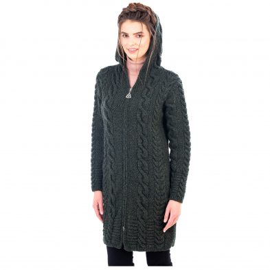 Ladies Aran Cable Knit Cardigan with Hood and Zipper Design at DublinGiftCompany.com