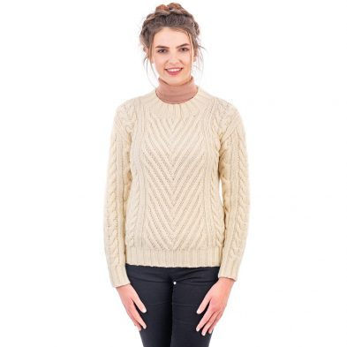Ladies Sweater with Ribbed Cable Design DublinGiftCompany.com