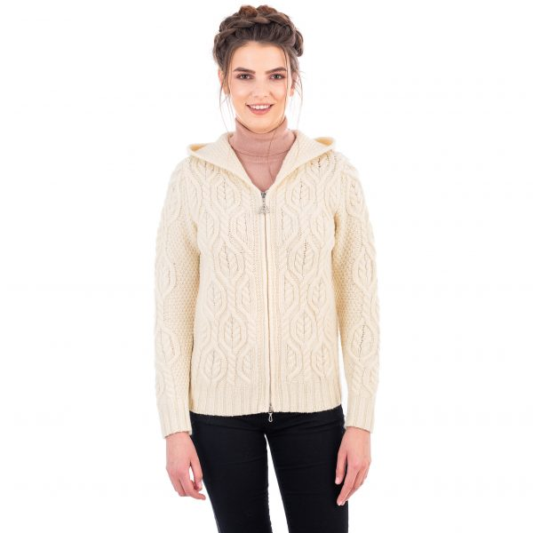 Ladies Natural White Double Collar Cardigan with Zipper at DublinGiftCompany.com