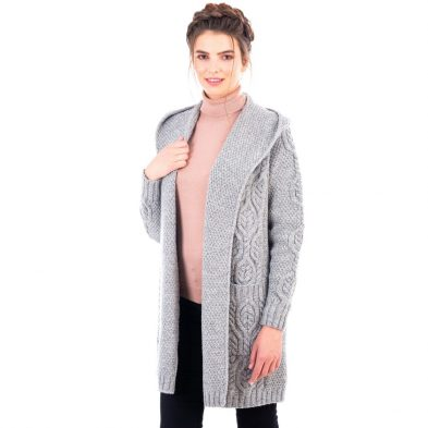 Classic Fit Grey Cardigan with Hood Design for Ladies DublinGiftCompany.com