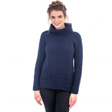 Navy Cowl Neck Sweater for Ladies