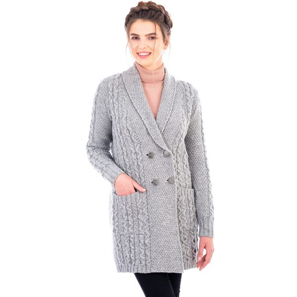 Ladies Shawl Collar Coat with 4 Buttons and Front Pockets Design at DublinGiftCompany.com