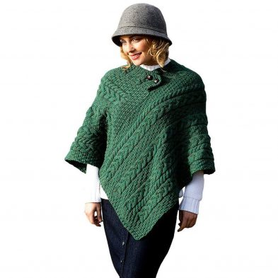 Ladies Fisherman Knit Green Colored Poncho at DublinGiftCompany.com