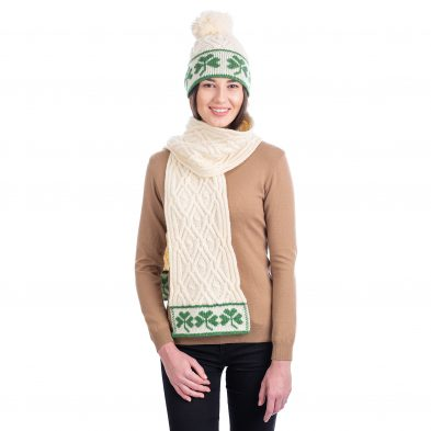 SAOL ML200 & ML201 Traditional Irish Shamrock Aran Wool Scarf Natural DublinGiftCompany.com