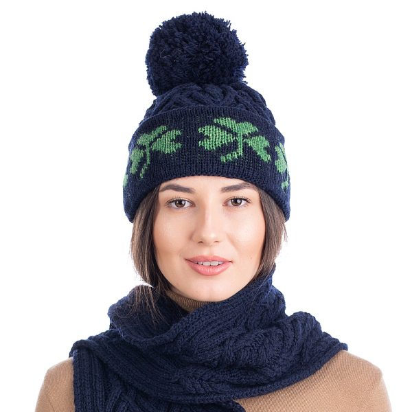 SAOL ML253 Green Shamrock Wool Hat Navy DublinGiftCompany.com