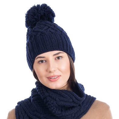 SAOL ML254 Aran Wool Bobble Hat Navy DublinGiftCompany.com
