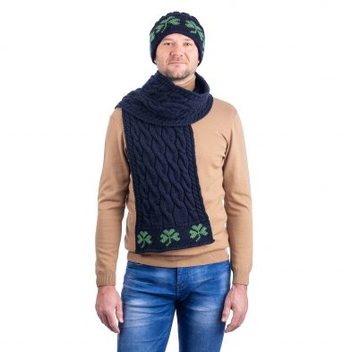 SAOL MM255 Cable Knit Shamrock Scarf Navy DublinGiftCompany.com