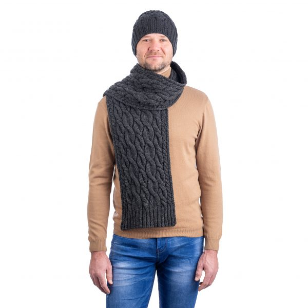 SAOL MM257 Wool Cable Knit Scarf Charcoal DublinGiftCompany.com